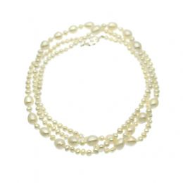 Pearl Necklace Opera Length 8mm & 5mm Pearls, Sterling Silver Toggle Clasp